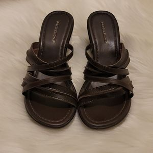Predictions Brown Strappy Wedge Heels Sandals
